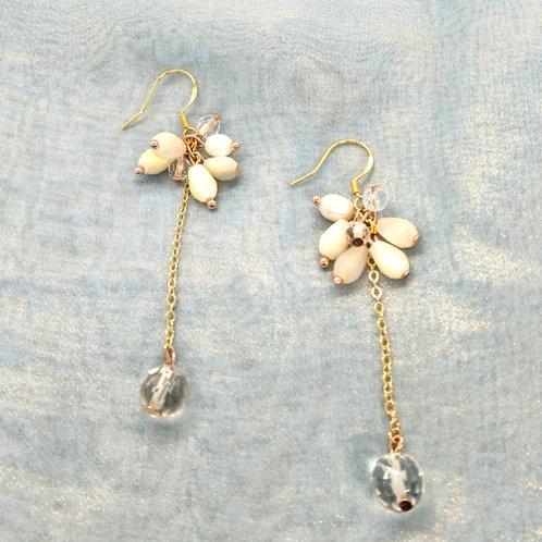 耳環 Earrings/貝殼珍珠Mother of Pearl/白水晶Crystal(8mm)/淡水珍珠Pearl/鍍金Gold-plated