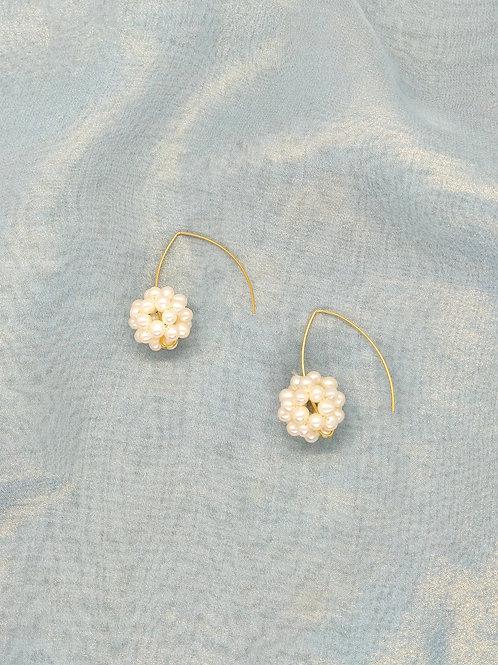 耳環 Earrings/珍珠Pearl(20mm)/鍍金Gold-plated