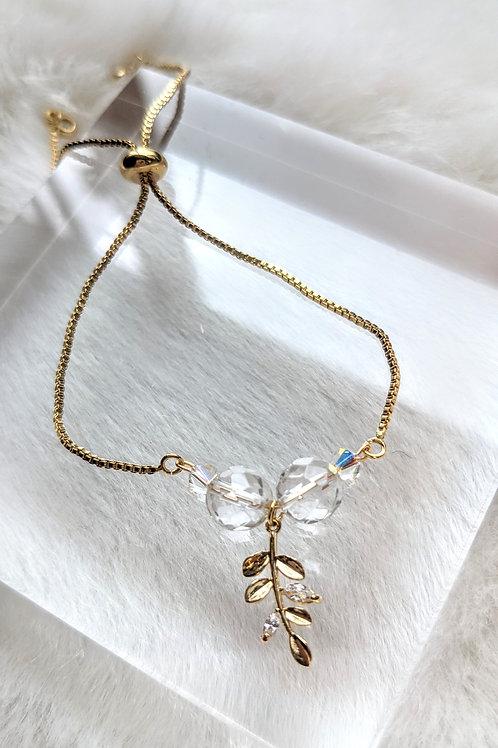 手鏈、白水晶(7mm)、施華洛世奇水晶(4mm)、鋯石、包14K金