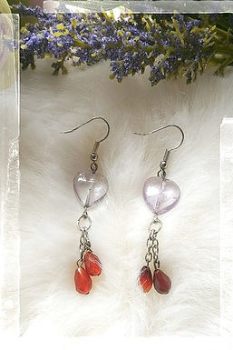 Earring耳環 /-Amethyst紫晶/ -Red Agate紅瑪瑙/ -Gold-plated鍍金