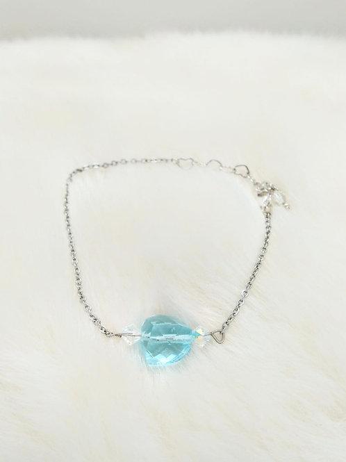 手鏈Bracelet/施華洛世奇水晶Swarovski(4mm)/藍玻璃(10mm)/鍍金Gold-plated