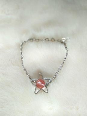 Bracelet 手鍊-/Strawberry Quartz士多啤梨晶(10mm)/Gold-plated鍍金