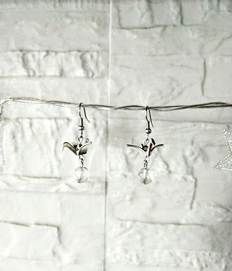 耳環 Earrings/白水晶Crystal(8mm)/合金