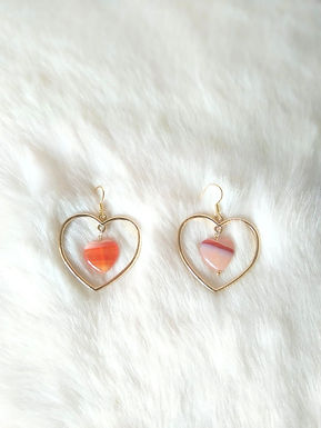Earrings耳環/ Red Agate紅瑪瑙(15mm)/ 18Kgold-plated 包金