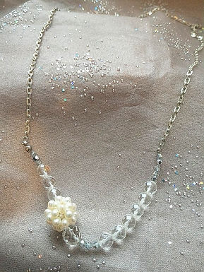 Necklace頸鍊/ Pearl(20mm)/ Crystal(8mm)/ length: 50cm