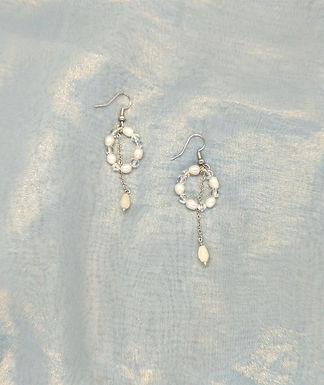 耳環 Earrings/貝殼珍珠Mother of Pearl/淡水珍珠Pearl/白水晶Crystal(8mm)/鍍金Gold-plated