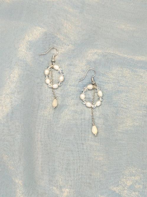 耳環 Earrings/貝殼珍珠Mother of Pearl/淡水珍珠Pearl/白水晶Crystal(8mm)/鍍金Gold-plated