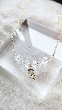 頸鏈、鋯石(葉)、白水晶(7mm)、施華洛世奇水晶(4mm)、包14K金