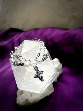 Bracelet手鍊/ -Crystal 水晶(5mm)(3mm) /-Silver 純銀 /length: 20cm $258