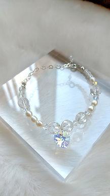 手鏈Bracelet/淡水珍珠Pearl(5mm)/施華洛世奇水晶Swarovski(4mm)/白水晶crystal(8mm)/鍍金Gold-plated