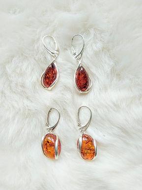 Earrings耳環 Amber 虎珀(10mm*18mm) Silver純銀