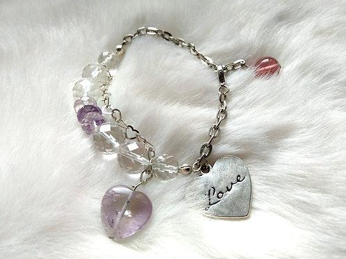 Bracelet手鍊 /Amethyst 紫晶(4mm*8mm)(15mm)/ -Crystal水晶(10mm)/ length: 20cm