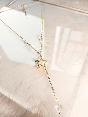 頸鏈、白水晶(8mm/5mm/3mm)、施華洛水晶(4MM)、鋯石、鍍K金