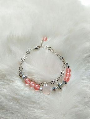 Bracelet手鍊/ Strawberry stone士多啤梨晶(7mm) /Rose Quartz粉晶 (10mm)/Silver 純銀