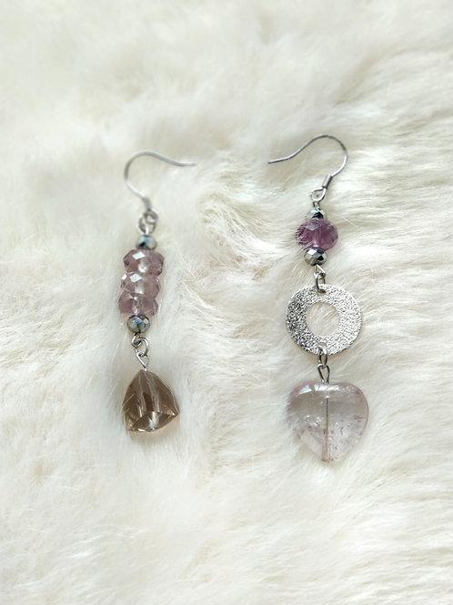 Earring耳環 -smoky quartz茶晶(10mm) /Amethyst紫晶(4mm*8mm)(15mm)/ -Gold-plated鍍金