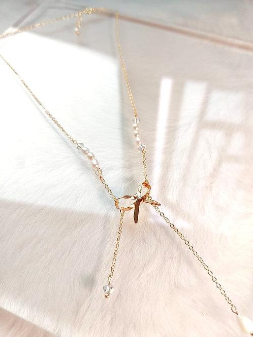 頸鍊、淡水珍珠(5mm)、Swarovski水晶(4mm)、鍍k金