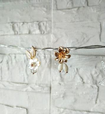 耳環 Earrings/貝殼珍珠Mother of Pearl/白水晶Crystal(8mm)/施華洛世奇水晶Swarovski/鍍金Gold-plated