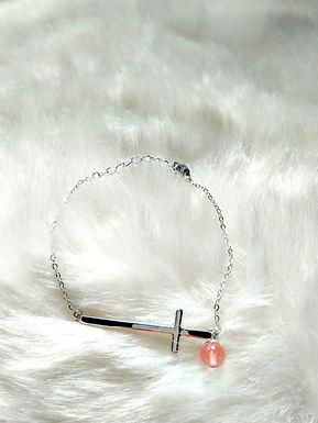 Bracelet 手鍊 -Strawberry stone士多啤梨晶 (5mm) -Silver純銀 length: 19cm