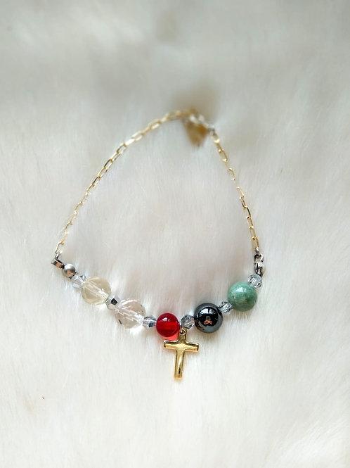 -五色珠手鍊Bracelet/ -Iron stone鐵石(8mm) /-Crystal 水晶(8mm) /-Citrine黃晶(8mm) -Gol