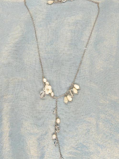 頸鍊Necklace/貝殼+淡水珍珠Pearl/白水晶Crystal/Swarovski施華洛世奇水晶/鍍金Gold-plated