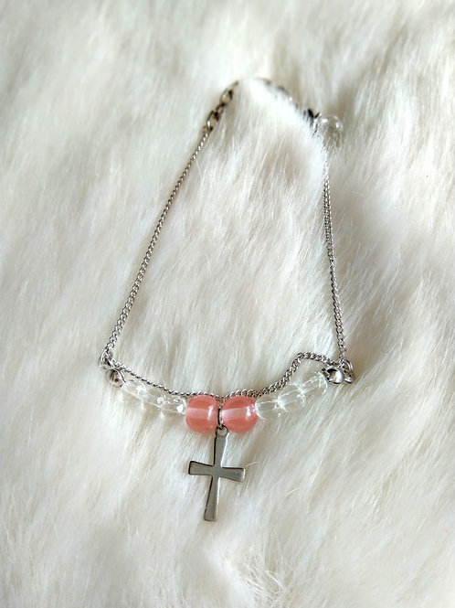 Bracelet手鍊 -Crystal 水晶(5mm) /Strawberry Quartz士多啤梨晶(5mm) /Gold plated 鍍金