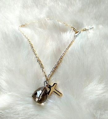 Bracelet手鍊 /-Smoky Quartz 茶晶 (10mm)/ -Gold-plated 鍍金 /length: 19cm