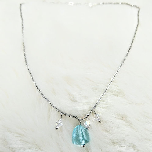 頸鍊Necklace/藍玻璃glass/Swarovski施華洛世奇水晶/鍍金Gold-plated