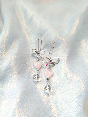 Earrings耳環/  Rose Quartz粉晶(5mm)、Crystal水晶(4mm)、18kGold-plated包金