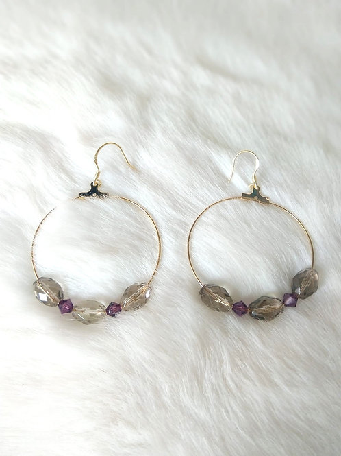 Earrings耳環 Smoky Quartz茶晶(8mm*5mm) /Swarovski施華洛世奇水晶 /gold-plated包金