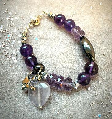 Bracelet手鍊 /-Amethyst紫晶(4mm*8mm)(8mm)(15mm)/ -Iron stone鐵石 /Gold plated 保色鍍金