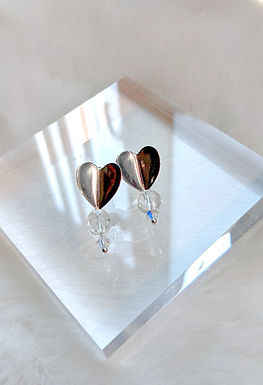 耳環、白水晶(8mm)、Swarovski水晶(4mm)、鍍白金