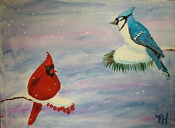 #cardinals #bluejay #paintclass #birdwat