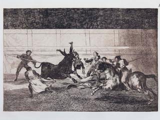 """""""La muerte de Pepe Illo"""". Serie La Tauromaquia. 1815 - 1816. Tirada de 1983, Calcografía Nacional.  Aguafuerte. y aguatinta. Huella 24x35 cms."""