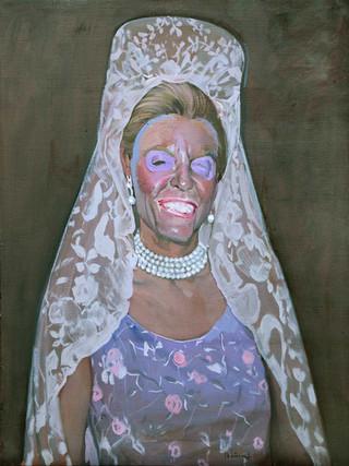 Señora con mantilla blanca