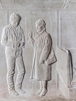"Francisco López Hernández (Madrid, 1932 - 2017) ""El Metro"". 1983. Escayola. 42x51 cms."