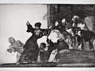 """""""Disparate pobre"""". Serie Los Disparates. 1815 - 1823. Primera edición (1864) Aguafuerte. y aguatinta. Huella 21x32 cms."""