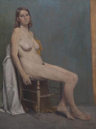 """Antonio Zarco Fortes (Madrid, 1930) """"Desnudo (Academia)"""" .1960. Óleo sobre lienzo, 116x89 cm."""