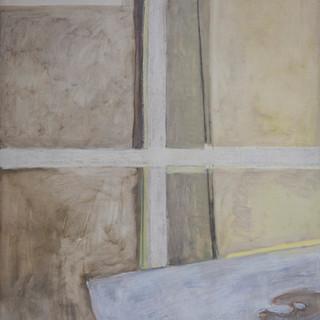 """""""Bastidor y mesa de mármol"""" 1988. Óleo sobre lienzo 200x200 cms."""