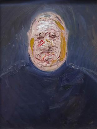 """Golucho (Madrid, 1949) """"Retrato de Andrés García Ibáñez"""". 2008. Óleo sobre tabla.45 x 34 cms"""