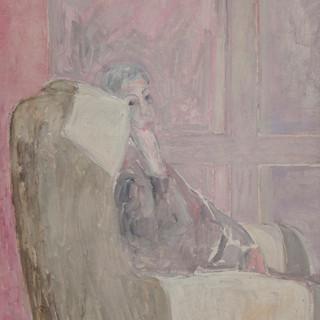 """""""Retrato de Lucia en el estudio"""" 1989. Óleo sobre lienzo 130x97 cms."""
