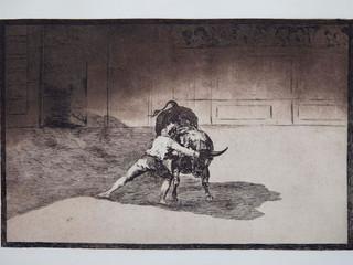 """""""El famoso Marticn"""". Serie La Tauromaquia. 1815 - 1816. Tirada de 1983, Calcografía Nacional.  Aguafuerte. y aguatinta. Huella 25x35 cms."""