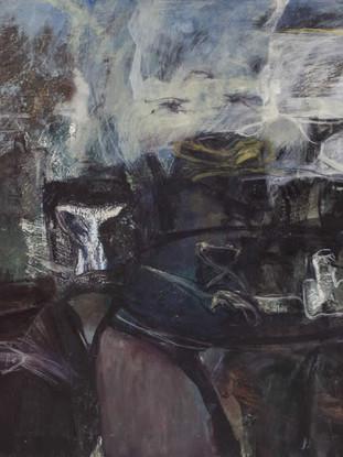 """Pepe Bernal (Huércal-Overa, Almería, 1957) """"Nocturno"""". 1991. Óleo sobre lienzo. 81x100 cms."""