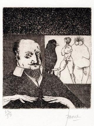"""PETER PAONE (1936) Serie realizada junto a Castellón """"Alfabeto Erótico. Autorretrato"""" 1969-1971. Aguafuerte y aguatinta 14 x 12 cm (huella)"""