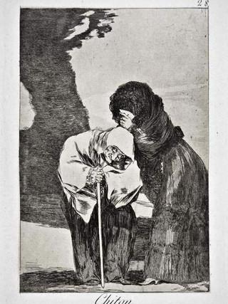 """""""Chitón"""" Grabado 28 de la serie Los Caprichos 1799. Décima edición (1918) Aguafuerte y aguatinta 22 x 15,3 cms. (huella)"""