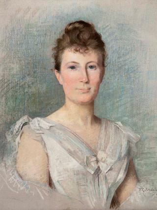 """RAIMUNDO DE MADRAZO Y GARRETA (Roma 1841, Versalles 1920) """"Retrato de mujer"""". Hacia 1880. Pastel sobre lienzo. 65x53 cms."""