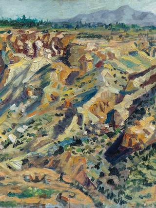 """Antonio Rojas Cervantes. (Huercal Overa, 1951). """"Paisaje de Huercal Overa"""". Hacia 1975. Óleo sobre lienzo pegado a tabla. 64x86 cms."""