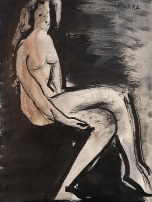 "Ginés Parra (Zurgena, Almería, 1896 – París 1960) ""Desnudo de mujer"". 1950. Tinta y acuarela sobre papel, 22x15 cms."