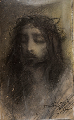 MARTINEZ DE LA VEGA Ecce homo circa 1890 pastel-papel