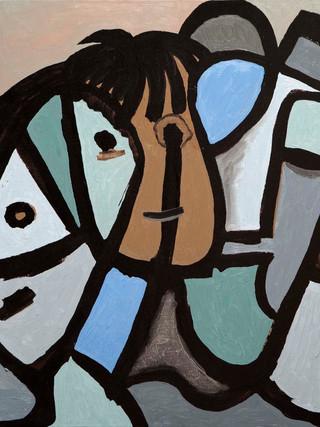 """Rafael Gadea Sánchez (Barcelona, 1953- Almería 2017) """"El patriarca"""". 1995. Óleo sobre tela, 60x81 cms."""