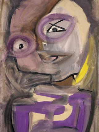 "Rafael Gadea Sánchez (Barcelona, 1953- Almería 2017) ""Meditación"". 1990. Óleo sobre tela, 100x62 cms."